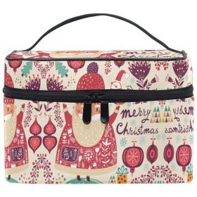 赤いサンタクロースギフト化粧品袋オーガナイザージッパー化粧バッグポーチトイレタリーケースガールレディース