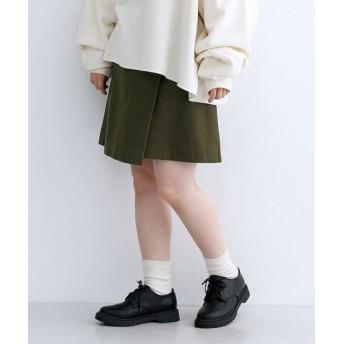 メルロー コットンヘリンボーンベルト付きミニスカート レディース カーキ FREE 【merlot】