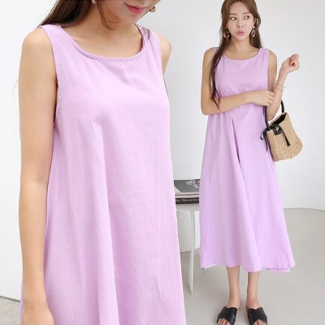 体型カバーに効く 紫の香りロングワンピース 3-color