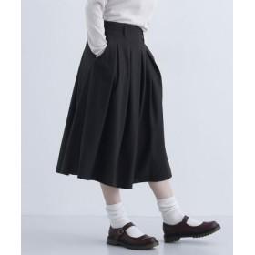 (merlot/メルロー)ウール混ミモレ丈タックフレアスカート/レディース カーキ