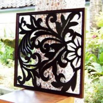 【送料無料】バリ島のリゾートの雰囲気を描いた大きなアートパネル[60×60cm][10783]【木彫り インテリア レリーフ 木製彫刻アート 絵画アート パネル オブジェ ウォールデコレーション