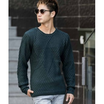 【71%OFF】 エーエスエム ダイヤ柄編みクルーネックセーター メンズ カーキ 50(L) 【ASM】 【セール開催中】