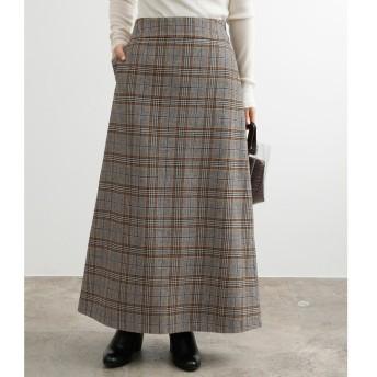 【アダム エ ロペ/ADAM ET ROPE'】 【WEB限定】ウールチェックマキシスカート