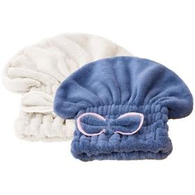 HEALIFTY ヘアドライヤー帽子タオル2個かわいいちょう結びヘアドライヤーキャップコーラルフリースシャワーキャップ厚手バスヘアキャップ(ランダムカラー)