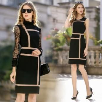 ワンピース ドレス ショート丈 ミニ ノースリーブ 半袖 30代 40代 ワンピース ドレス 黒 きちんと感 きれいめ 大きいサイズ Xライン 着