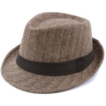 MUMUWU 帽子 ウール ストライプ ジャズ ハット ジャズハット サイズ58 キャップ (色 : カーキ, サイズ : 56-58CM)