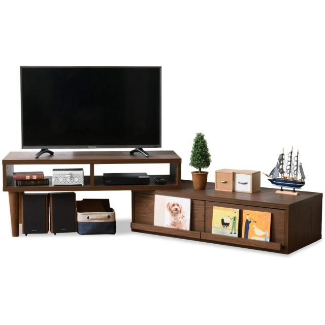 JKプラン テレビ台 テレビボード テレビラック 伸縮 テレビ台 コーナーテレビ台 40型 対応 配線すっきり コーナーにも壁面にも自由自在 北欧 TV台 ブラウン TSFAP1007BR