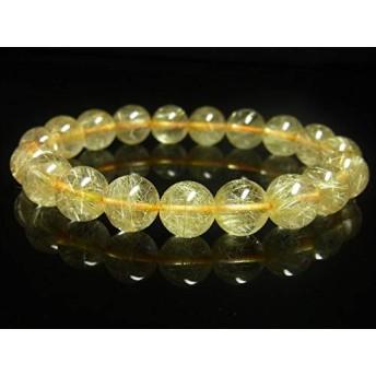 現品一点物 ゴールド ルチル ブレスレット 金針水晶 天然石 数珠 10-11ミリ R46 開運招来 レディース メンズ パワーストーン ルチル 開運 1点物 目玉 ギフト 贈り物 プレゼント