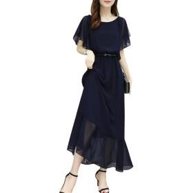JP001S 女性のカジュアルな夏のドレスOネックフリル袖シフォンドレススリムロングマキシドレスS-XXXL