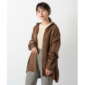 Kastane(カスタネ) レディース スウェードライクシャツ ブラウン