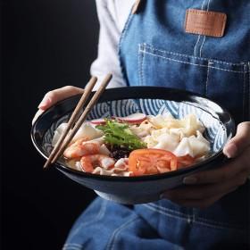 和風ブルーシーリップルセラミック大ボウルホームレトロ麺ボウルサラダボウルセラミックスープボウル9.5インチラーメンボウルクリエイティブ食器