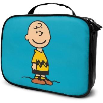 化粧品袋 化粧ポーチ 旅行化粧品バッグ メイクボックス メイクブラシバッグ 収納ケース チャーリーブラウン ウォッシュバッグ 化粧品バッグ 旅行用収納バッグ 化粧道具 小物入れ 持ち運び便利 大容量