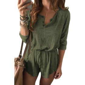 maweisong Women's Summer Romper Casual Loose Short Rompers Jumpsuits Green L