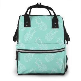 万洋 最新旅行 通勤 個性的 多機能レジャーバッグ リュック マザーズバッグ ベビー用品収納 出産準備 防水盗難防止ポケット シンプル大容量手提げ袋 かわいい -ミントグリーンと白のパイナップルパターン