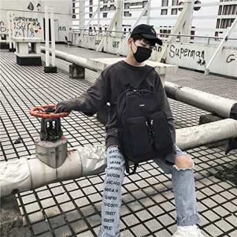 YMF ダブルショルダースクールバッグトラベルバックパックバッグ (色 : Black)
