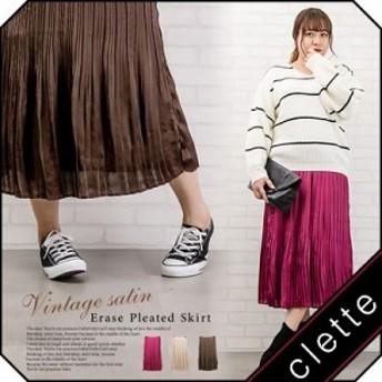 大きいサイズ/レディース/3L/4L/ビンテージサテン消しプリーツスカート