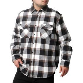 [ナチュラルストーリー] 大きいサイズ メンズ シャツ チェック 長袖 ネルシャツ アイボリー 4L