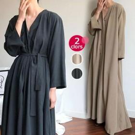 2019年新商品 韓国ファッション ドレス マキシ丈 ゆったり 体型カバー 無地 ポケット付き 長袖 フリーサイズ