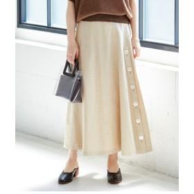 【ADAM ET ROPE':スカート】ボタン開きスリットフレアスカート