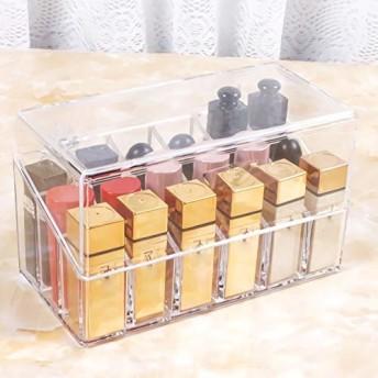 アクリルケース リップ収納 ボックス プレゼント 口紅いれ 蓋付き 仕切り式 多用途 防塵 透明 18本