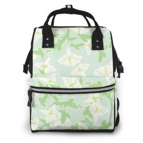 万洋 最新旅行 通勤 個性的 多機能レジャーバッグ リュック マザーズバッグ ベビー用品収納 出産準備 防水盗難防止ポケット シンプル大容量手提げ袋 かわいい -フローラルシーフォームグリーンホワイトとイエロー