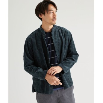 グリーンレーベルリラクシング SC オヤココール マオカラ- 長袖シャツ メンズ DKGREEN S 【green label relaxing】