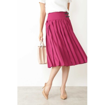 NATURAL BEAUTY ◆アムンゼンミニベルト付プリーツスカート ひざ丈スカート,ワイン