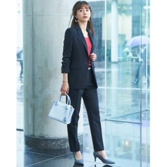 洗えてすごく伸びるウール調ロング丈ジャケットパンツスーツ (大きいサイズレディース)スーツ,women's suits ,plus size