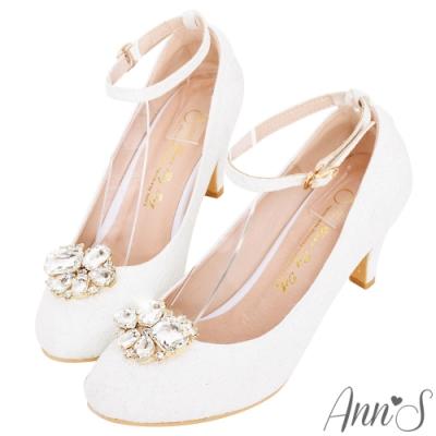 Ann'S 公主夢 夾式鑽扣多way蕾絲圓頭繫帶跟鞋 白