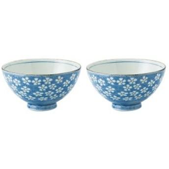 みのる陶器 早春(ブルー) 土物京茶碗 2個セット SSYAKO-2