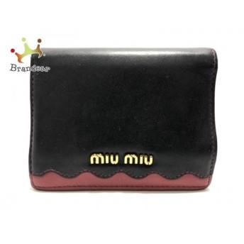 ミュウミュウ miumiu 2つ折り財布 - 5MV204 黒×レッド レザー 新着 20190910