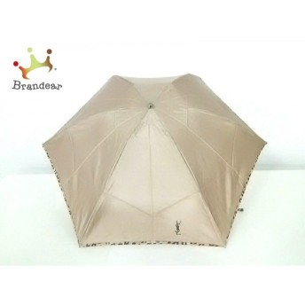 イヴサンローラン 折りたたみ傘 美品 ベージュ×ダークブラウン 豹柄 ポリエステル 新着 20190910