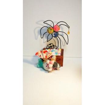 猫人魚とヤシの木 置物 インテリア雑貨 オーナメント 羊毛フェルト ちりめん ワイヤー 扇子 自転車 出産祝い プレゼント