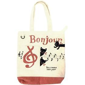 【黒猫ミィー】ポケット付きトート(音符) Bonjour Mie 228024