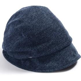 QUEENHEAD リンデンダウンハット 帽子 大きいサイズ レディース ハット つば広 紫外線 UV 防寒対策 小顔効果 【XL58-61cm-ネイビー】