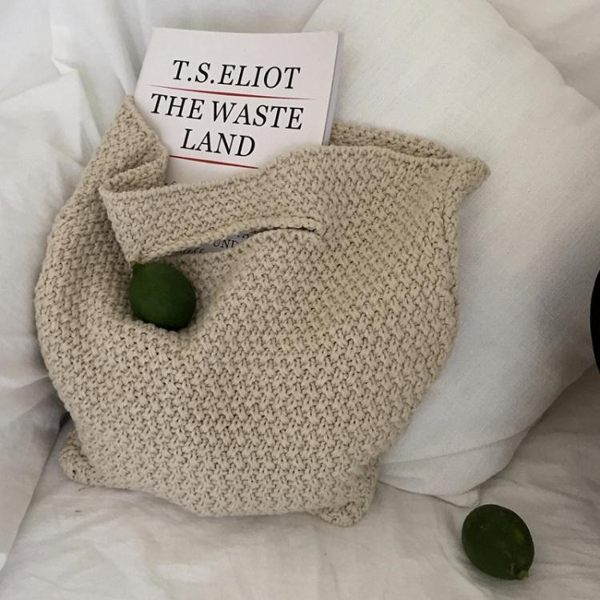 編織包春秋可愛少女時尚手提包潮寬鬆舒適軟編織學生毛線包包女-美物家居