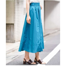 MK MICHEL KLEIN 【洗える】ロングギャザースカート ロング・マキシ丈スカート,ブルー