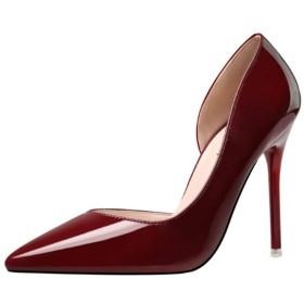 [VALER] パンプス ポインテッドトゥ ピンヒール エナメル スムース 可愛い ストーム 23.5cm 痛くない 無地 ハイヒール 10.0cmヒール パンプス ワインレッド 結婚式 キャバ ドレス パンプス パーティ 靴 ピンヒール 歩きやすい ハイヒール