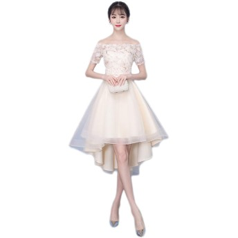ワンショルダーイブニングドレス女性の宴会パーティードレスドレス花嫁介添人ドレス (ベージュ1, XL)