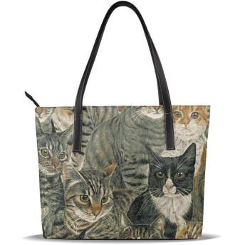 バッグ かわいい猫トートバッグ メンズ レディース ビジネス トート 大容量 A4 B4 レザー 革 通勤 通学 軽量 カジュアル 縦型 旅行 丈夫 防水