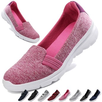 [MISIKEKE] 安全靴 ナースシューズ レディース メンズ スニーカー 超軽量 高齢者シューズ スリッポン 介護シューズ 快適 中高齢者靴 ウォーキングシューズ 看護師 婦人靴 男女兼用 22.5cm-28.0cm、ピンク-1、22.5cm