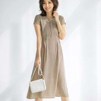 ベルーナ シャーリング衿タックデザインワンピース 小紋柄(ネイビー系) 5L レディース