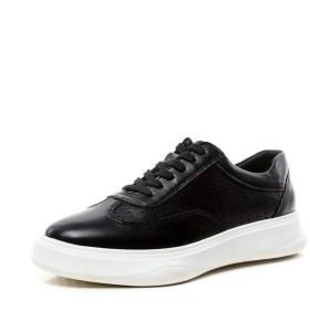 [Jusheng-shoes] メンズシューズ メンズカジュアルウォーキングスケートシューズレースアップラウンドトゥプラットフォーム滑り止め穴あきマイクロファイバーレザーステッチ カジュアルシューズ (Color : ブラック, サイズ : 26.5 CM)