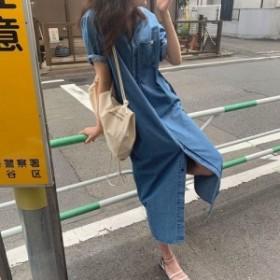 シャツワンピース デニム 半袖 ポケット オルチャンファッション
