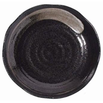 みのる陶器 大皿 黒結晶 白刷毛 7.5寸