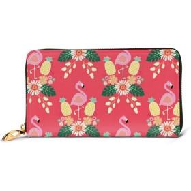 LJHWBDD 男女兼用 Pink Flamingos Pineapplesユニーク 長財布 メンズ ラウンドファスナー 財布 取り出しやすい 小銭入れ レザー カード 大容量 本革人気 One SizeBlack