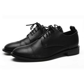 [WELLWALK] レディース ウィングチップ ブローグ オックスフォードの靴 ダービーシューズ レースアップ かわぐつ レザー 本革 (ブラック,40 (250))
