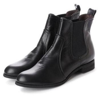 ヒップス HIPS レザーサイドゴアショートブーツ (ブラック)