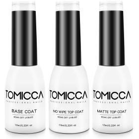 TOMICCA ジェルネイル トップコート マットトップコート ベースコート 3本セット10ml 拭き取り不要 UV/LED対応