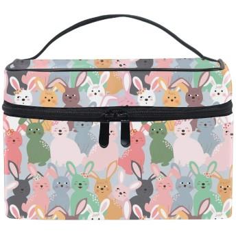 コスメポーチ 多機能収納ボックス 防水ケース ウサギの漫画大容量 高品質 超軽量 旅行用